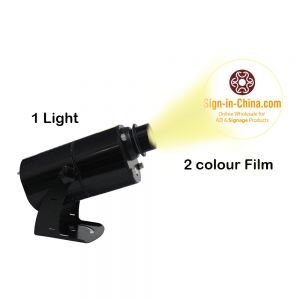 60W Black  Desktop or Mountable Indoor LED Gobo Projector Advertising Logo Light (with Custom 2 Colors Rotating Glass Gobos) Meanwell Driver