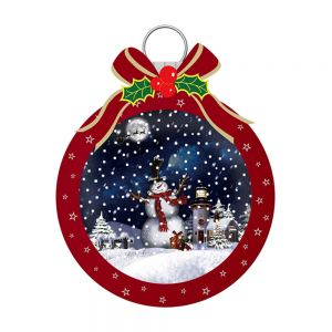 LED Snowing Musical Wall Bauble Decos with Santa and Bow