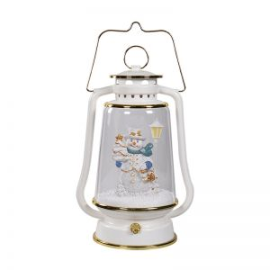 Lovely Santa Clause or Snowman inside the Snowing Decorative Barn Lantern with Led Lighting and Music