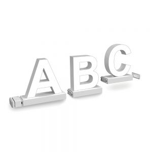 Chrome Yellow Assembled Channel letter Track Installation (Magnetic counter) Arial 100MM High