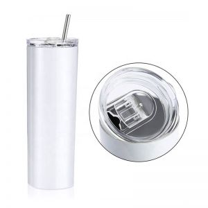 US Stock - 20oz Sublimation Blank White Skinny Tumbler Stainless Steel Insulated Water Bottle Double Wall Vacuum Travel Cup With Sealed Lid and Straw