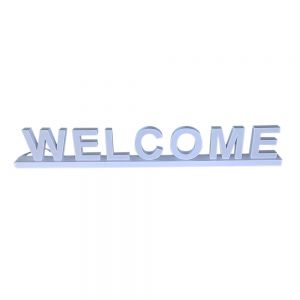 """""""WELCOME"""" White  Assembled Channel letter Track Installation (Magnetic counter) Arial 100MM High"""