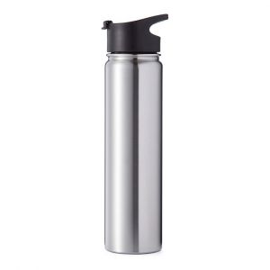 22oz Wide Mouth Stainless Steel Bottles with Sublimation Coating and Flip Cover Lid Sliver