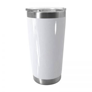 20oz Stainless Steel Beer Tumbler with Sublimation Coating and Direct Drinking Lid White