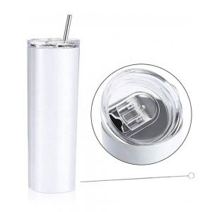 10pcs 10pcs 20oz Sublimation Blank Skinny Tumbler Stainless Steel Insulated Water Bottle Double Wall Vacuum Travel Cup With Sealed Lid and Straw (White)