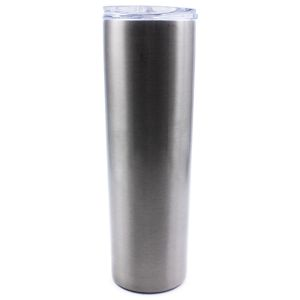 30pcs 30oz Sublimation Blank Sliver Skinny Tumbler Stainless Steel Insulated Water Bottle Double Wall Vacuum Travel Cup With Sealed Lid and Straw