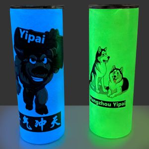 25pcs 20oz White Sublimation Blanks Straight Glow In The Dark Skinny Tumbler with Closed Lid and Straw for DIY Printing
