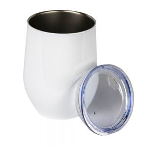 US Stock- 6PCS 12oz White Stainless Steel Red Wine Tumbler Mugs with Direct Drinking Lid