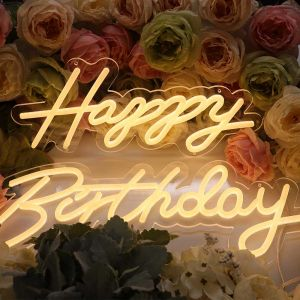UK Stock, CALCA Happy Birthday Warm White Integrative Neon Sign for Any Age Size-24X9.4 Inches+17.7X8.3 Inches