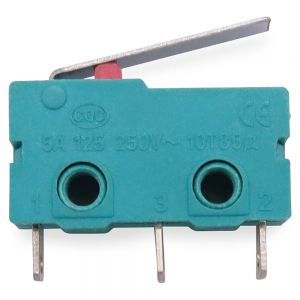 5pcs Micro switch travel switch with handle 3pin hole foot silver contact 5A 125/250VAC