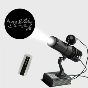 20W Indoor Black Remote Control LED Gobo Projector (with Happy Birthday Rotating Glass Gobos)