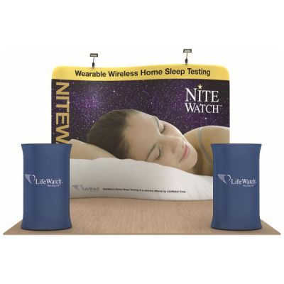 10ft Serpentine Ensemble Portable Fabric Tension Exhibition Display with Custom Graphic