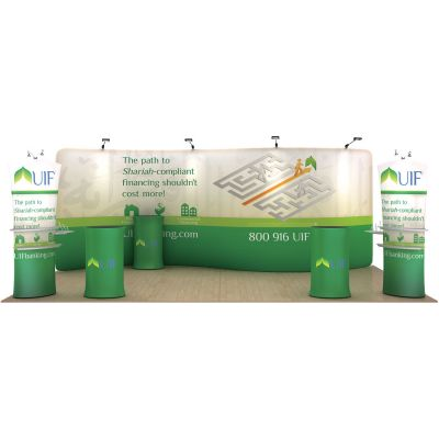 20ft Serpentine Portable Fabric Tension Exhibition Display Kits with Custom Graphic