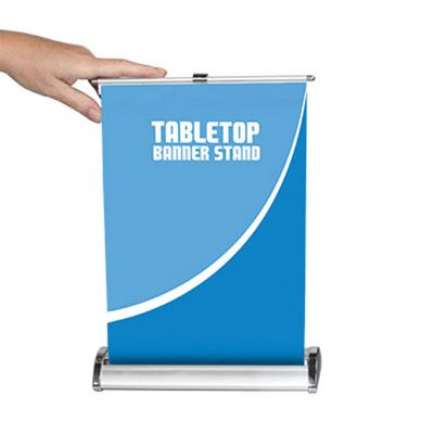 "8"" W x 12"" H Table Top Roll Up Banner Stand  (Stand Only)"