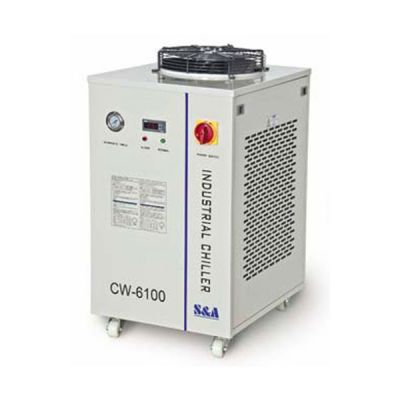 S&A CW-6100BI Industrial High Precision Water Chiller for 2 x 200W or 1 x 400W CO2 Glass Laser Tube Cooling, 1.72HP, AC 1P 220V, 60Hz