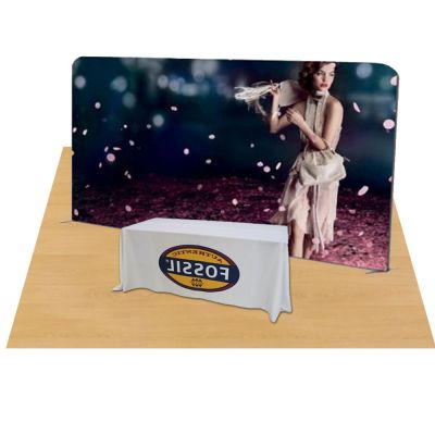 20ft Straight Portable Fabric Tension Exhibition Display with Custom Graphic