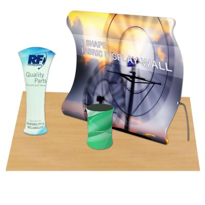 Vertical Curved Portable Fabric Tension Exhibition Display with Custom Graphic