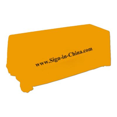 6ft(4) Full Length Sides Rectangular Table Throws with  Custom Logo Imprint On Apricot