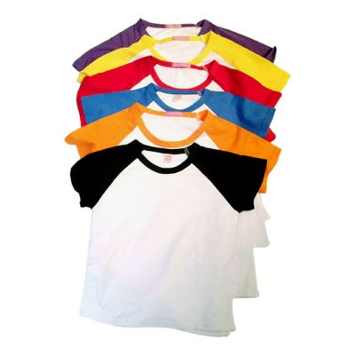 Blank Children's Raglan Combed Cotton T-Shirt with Colorful Sleeve for Personlized Heat Transfer Printing