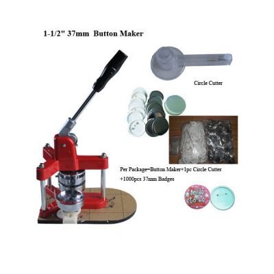 "1-1/2"" 37mm New Triangle Badge Press Button Maker Machine +1000pcs Button Supplies+1pc 37mm Circle Cutter"