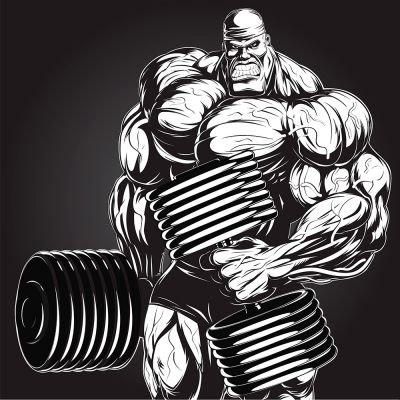 Bodybuilding Gym Muscle Dumbbell Man Vector Poster (Free Download Illustrations)