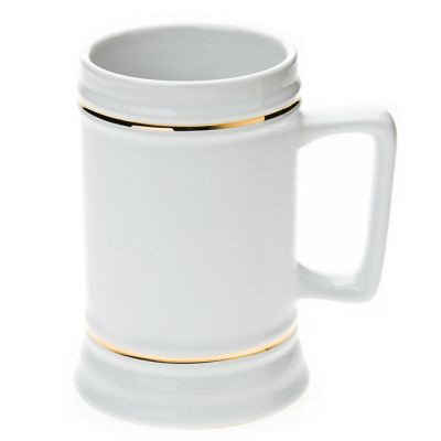 20 OZ Sublimation White Rectangle Handle Beer Stein with Golden Rim