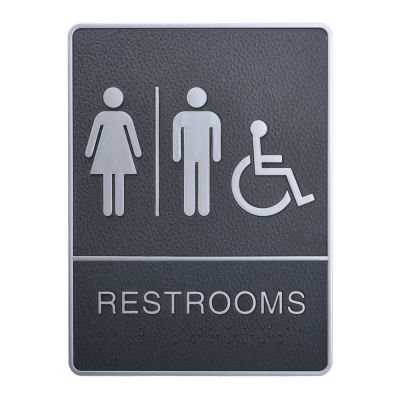 Male / Female / Disabled, Toilet, Restroom Signs With Braille, ABS New Material