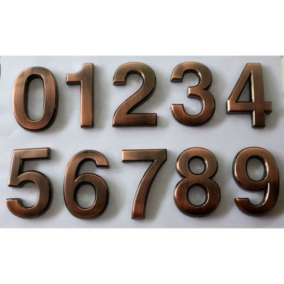 Modern House Plaque Bronze Arc Plating Numbers (Several Sizes Available)