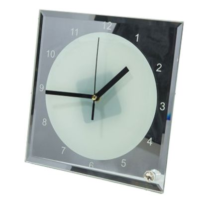 """7.8"""" x 7.8"""" Sublimation Blank Mirror Edge Glass Photo Frame with Clock"""