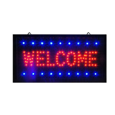 "Bright Animated LED Welcome Shop Store Bar Open Sign 19""x10"" Display Light Neon"