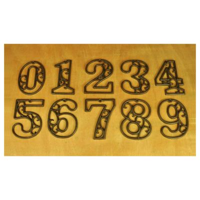 "4.5"" Cast Wrought Iron Black Antique Style Shop Decor Hotel Door Numbers"