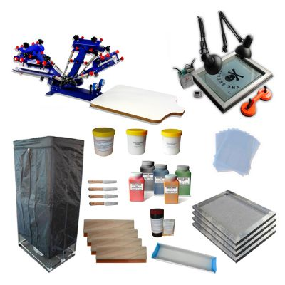 4 Color Screen Printing Kit Drying Cabinet / UV Exposure / INK Adjustable Press