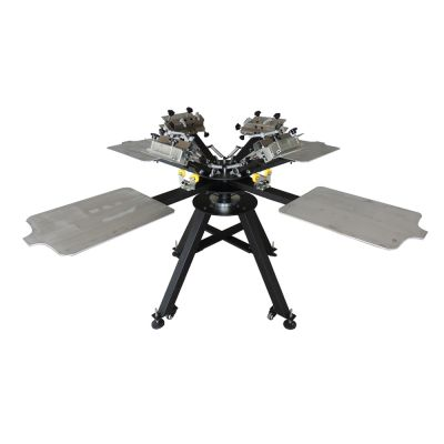 4 Color 4 Station Micro-Registration Screen Printing Machine with Alum Plate
