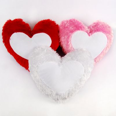 Long Plush Heart Shape Sublimation Blank Pillow Case Fashion Cushion Cover