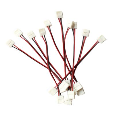 10pcs Connector for LED Strip 8mm or 10mm; 2 Clips + 1 Cable 15cm
