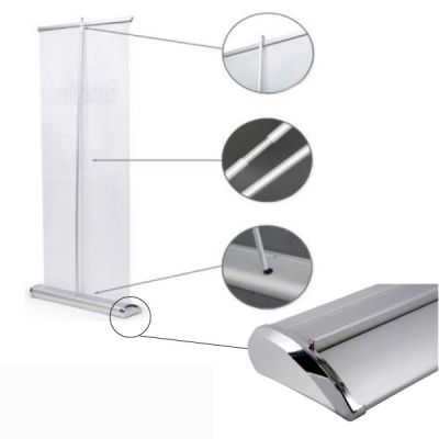 "33""W x 79""H Silver Cap Broad Base Roll Up Banner Stand (Stand Only)"