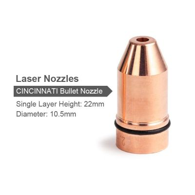 Bullet Laser Nozzle (Single Layer, Dia.10.5mm Hight 22mm) for CINCINNATI Lasermech Fiber Laser Cutting Head Welding Machine 1064nm