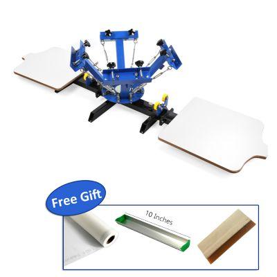 4 Color 2 Station Silk Screen Printing Press, for DIY T-Shirt Printing