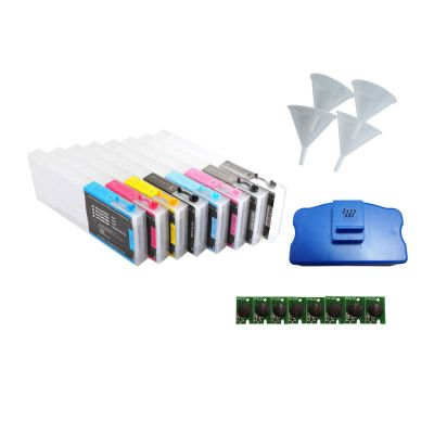 Combo Epson Stylus Pro 4800 Refill Ink Cartridges 8pcs / set, with 4 Funnels, 8 Chips and 1 Chip Resetter