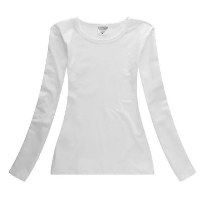 Screen Printing Blank Long Sleeve T-Shirts Combed Cotton T-Shirts for Women ,10pcs/pack