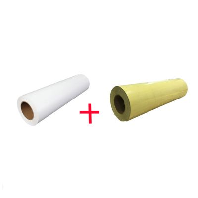 "US Stock, 1 Roll White Color Eco-Solvent Printable Heat Transfer Vinyl with 1 Roll Application Tape 23.6"" X 5 Yard"