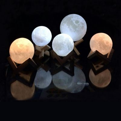 US Stock, 2017 8cm 3D Moon Lamp USB LED Night Light Moonlight Gift Touch Sensor Color Changing