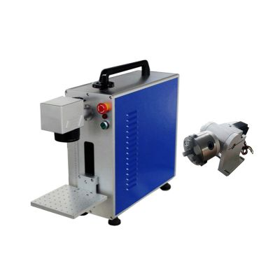 US Stock, Portable 30W Fiber Laser Marking Metal EngravingEZ Cad FDA Certified, Rotary Axis Include