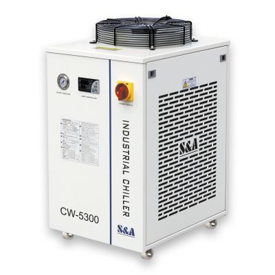 S&A CW-5300DI Industrial Water Chiller (AC 1P 110V 60HZ) for one 200W CO2 laser, 100W Laser Diode, 75W Solid-state Laser, 18KW CNC Spindle