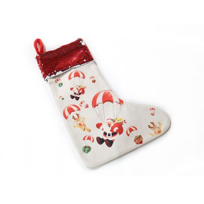 Super Style Blank Sublimation Christmas Stockings Linen Socks with Sequins Drawstring for Xmas Holiday