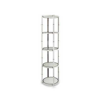 81in Portable Round Twist Display Counter with Shelves, Top Light and Clear Magnetic Panels