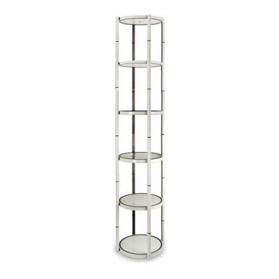 "80"" Round Portable Aluminum Spiral Tower Display Case with Shelves, Top light and Clear Panels"
