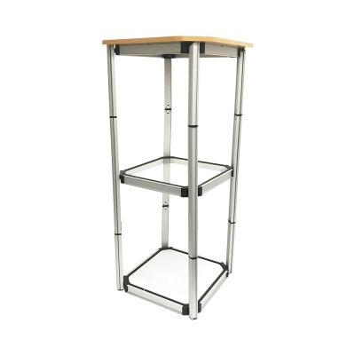 "US Stock, 41.7"" Square Portable Aluminum Spiral Tower Display Case with Shelves and Clear Panels"