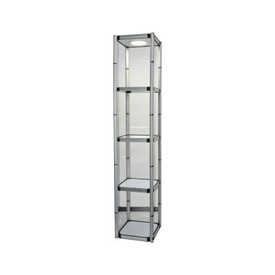 "US Stock, 81.1"" Square Portable Aluminum Spiral Tower Display Case with Shelves, Top light and Clear Panels"
