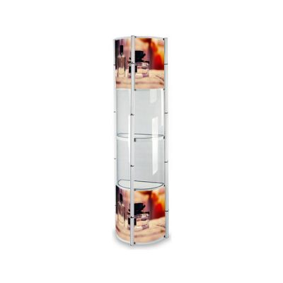 """81.1"""" Semi-Circle Portable Aluminum Spiral Tower Display Case with Shelves, Top light and Custom Panels"""